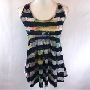 Daytrip Watercolor Striped Babydoll Tank Top Small